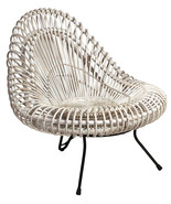 Pearl White Handwoven Rattan Wicker Chair Outdoor Patio Garden Deck Back... - $394.02