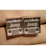 Mens Custom Hand Crafted  ONLY IN A JEEP SILVER TONE Cufflinks - $24.70