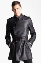 WINTER MEN LEATHER COAT TAILOR MADE REAL GENUINE LEATHER TRENCH COAT -21