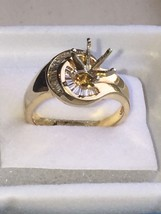 Gold 14K Yellow Semi Mount .40 DTW diamond Ring 6 1/2  Wedding Set - $593.01