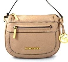 AUTHENTIC NEW NWT MICHAEL KORS LEATHER JULIA PINK OYSTER MEDIUM MESSENGE... - $89.99