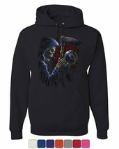 Reaper Sphere Scythe Hoodie Death Skull Creepy Scary Monster Sweatshirt - $21.83+