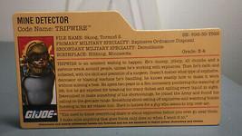 HASBRO VINTAGE GI JOE TRIPWIRE MINE DETECTOR BIO FILE CARD - $10.00