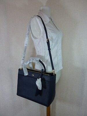 Tory Burch Navy Blue Saffiano Leather Robinson Double-Zip Tote