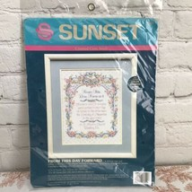 Sunset From This Day Forward Counted Cross Stitch Kit Wedding Record Sho... - $38.65