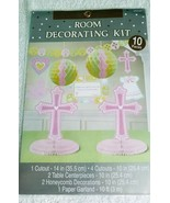 Christening 10 Piece Room Decorating Kit, Pink - New / Sealed - $10.65