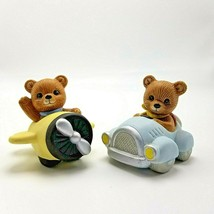 Homco Bears Yellow Airplanes Blue Car Transportation #1463 Porcelain Fig... - $11.69