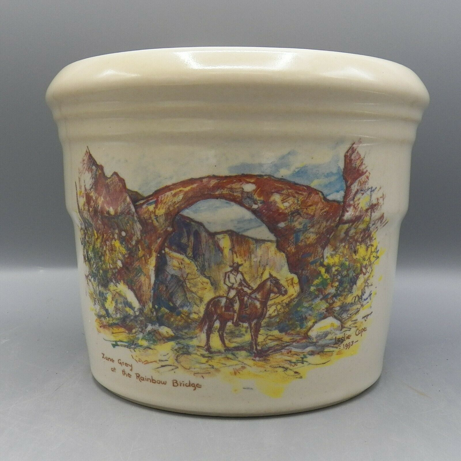 Zanesville Stoneware Zane Grey At Rainbow Bridge Leslie Cope Vase Pot Pottery image 11