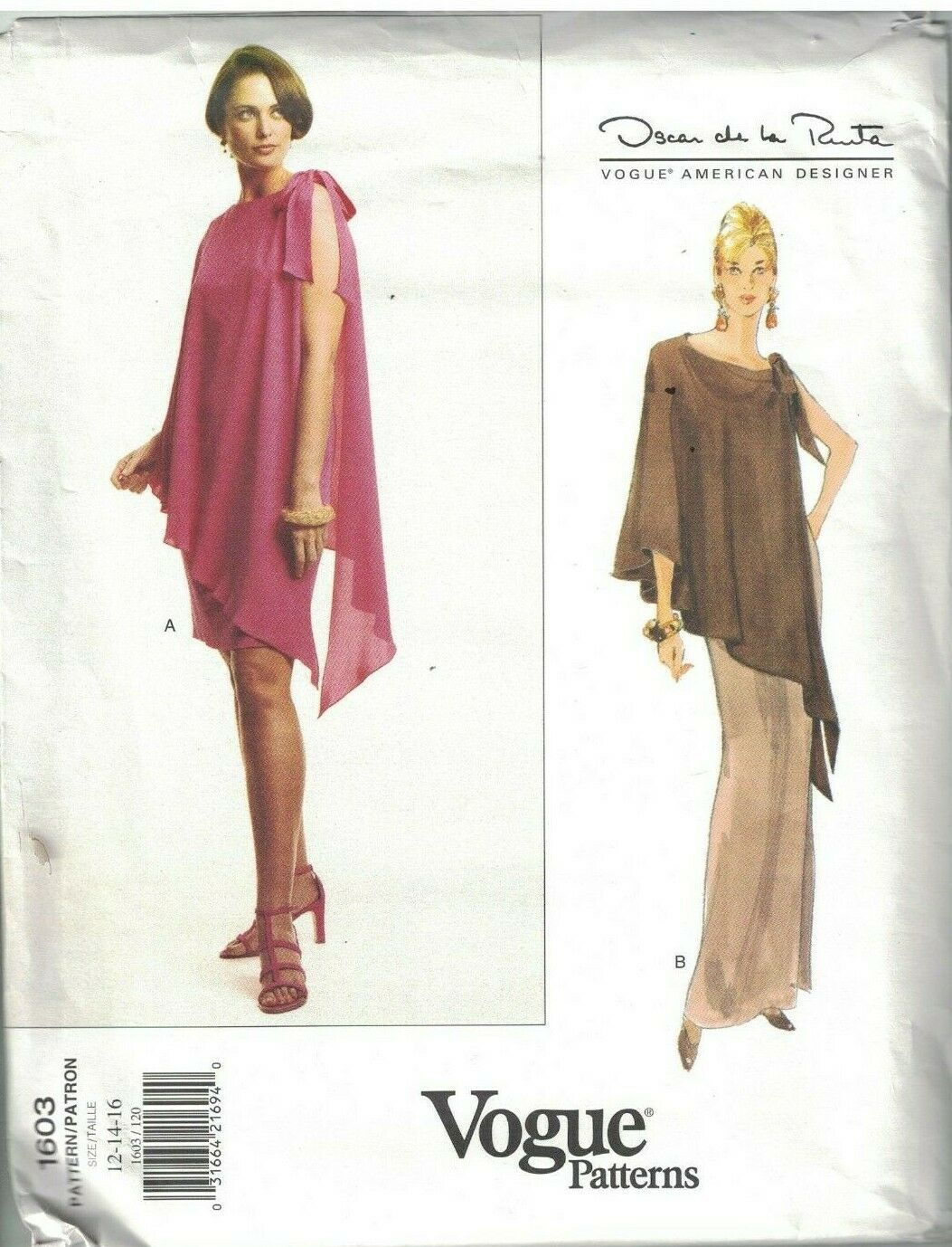 Primary image for 1603 UNCUT Vogue Sewing Pattern Misses Semi Fitted Dress Oscar de la Renta OOP