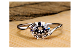 Women's Cubic Zirconia Halo 18k White Gold Plated Ring High Transparent ... - $13.49+