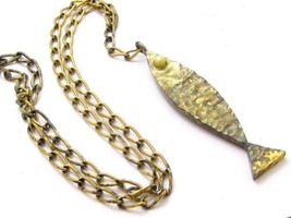Massive Fish Vintage Bronze Gold Toned Long Pendant Necklace*Marine*25.5... - $47.47
