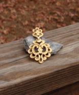 Vintage Crown Trifari© L'Orient Fleur de Lis Textured Gold Tone Pendant ... - $75.00