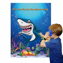 Pin The Fin On The Shark Party Games for Kids Birthday Party Supplies Ba... - £9.49 GBP