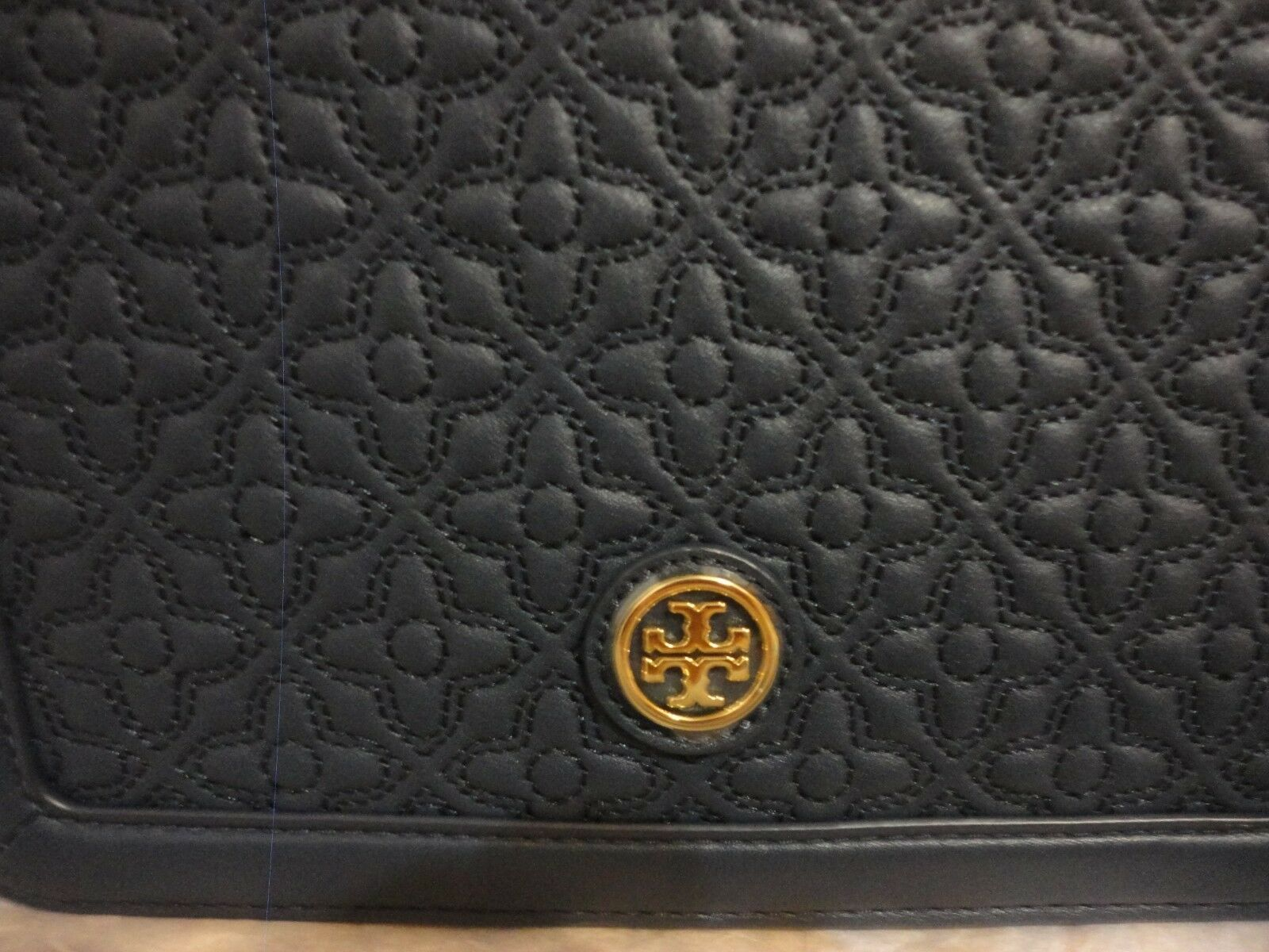 Tory Burch Bryant $495 Floral Quilted Hudson Bay Navy Blue Leather Crossbody Bag