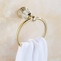 BATHSIR Zinc Alloy Golden Polished Towel Ring,Modern Crystal Towel Hange... - $16.07
