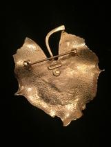 60s Kramer gold leaf with real cultured pearl brooch image 3