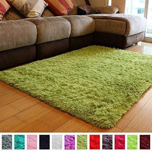 PAGISOFE Soft Shag Green Furry Area Rugs For Living Room