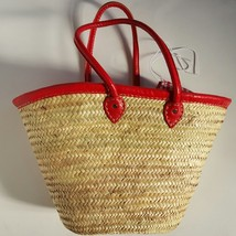 Sale  Basket with hand sewing leather handles red (choose)and trimming
