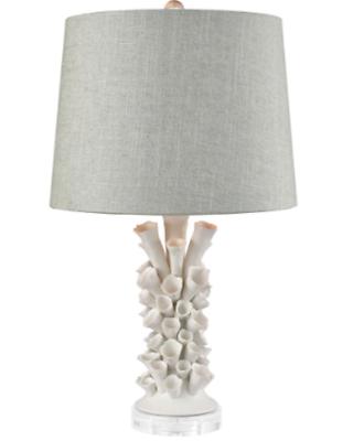 Designer Coastal Table Lamp White Flowers Gray Linen Shade Horchow