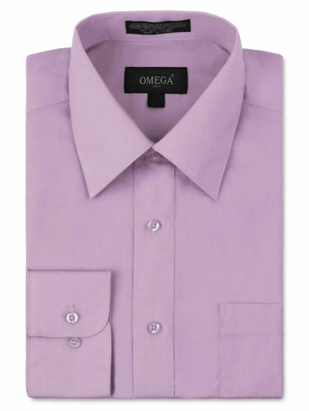 Omega Italy Men's Long Sleeve Solid Lilac Button Up Dress Shirt - S