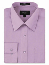 Omega Italy Men's Long Sleeve Solid Lilac Button Up Dress Shirt - S image 1