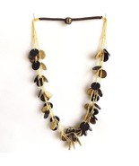 NATURAL CREAM BROWN COCONUT SHELL NECKLACE,TRIPLE STRINGS ROUND DISCS WI... - $10.71