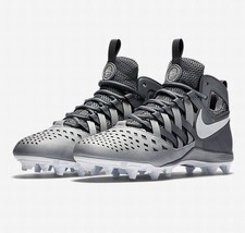 Nike Huarache V 5 LAX Cool Grey/White Lacrosse Football Cleats 807142 010 - $54.95