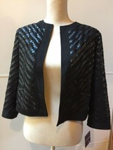 Anthracite By Muse Black Textured Eyelet Embroidered Jacket Shrug Size 8  - $48.51
