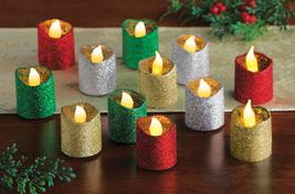 LED Glitter Holiday Flameless Votives - Set of 12  - $25.91