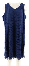 Isaac Mizrahi Petite Scallop Lace Knee Length Dress Royal Navy PL NEW A2... - $37.60