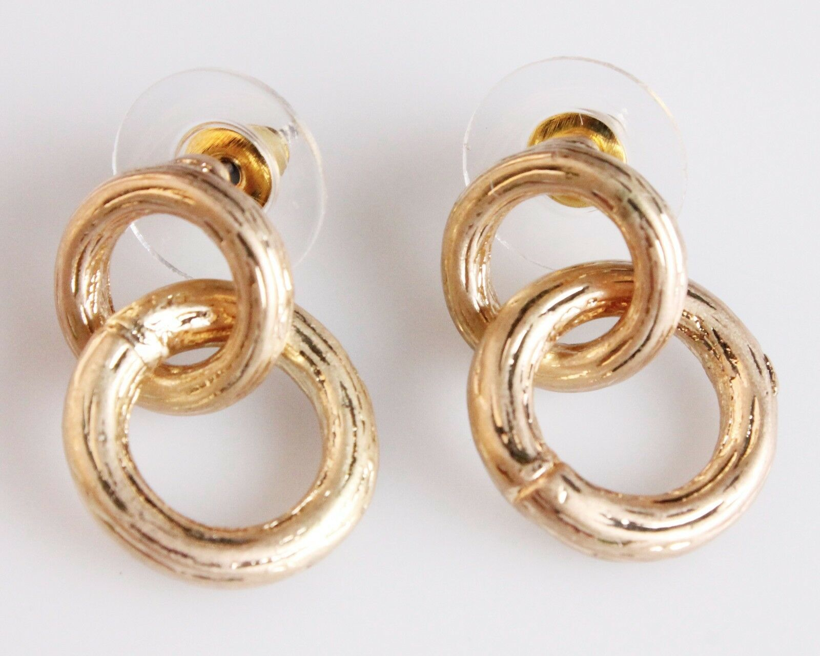 New Jardin Double Brushed Gold Plated Small Hoop Earrings NWT