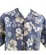 Ocean Pacific Inversa Stampa Grande Ibisco Fiori Blu Verde Camicia Hawaiana - $31.26