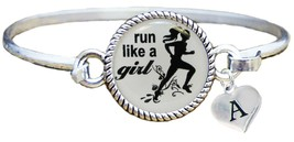Custom Run Like A Girl Silver Bracelet Jewelry Choose Initial Family Mar... - $14.87