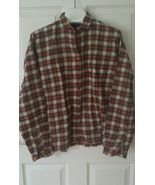 Vintage Viyella Red Tartan Plaid cotton wool button front shirt Size 12 ... - $19.80