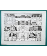 ARCHITECTURE Germany Prisons Schools Hospital Dormitory - 1870 Engraving... - $16.20