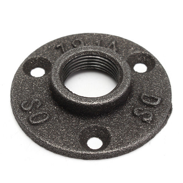 1/2 or 3/4 Inch Black Flange Iron Pipe Floor Fitting Plumbing Threaded 3 Holes