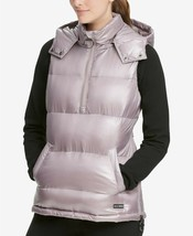 DKNY Womens Quarter Zip Hooded Vest Metallic Static Size Medium - $119 -... - $68.59