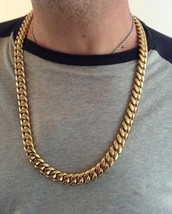 Men Cuban Miami Link Bracelet And Chain Set Stainless Steel 18k Gold Plated - £85.93 GBP