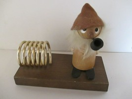 Vintage Wood Pipe Smoker Gnome Letter Holder - $6.92