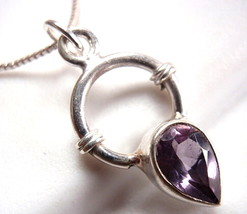 Small Faceted Amethyst Pendant 925 Sterling Silver with Rope Style Accents - $12.86