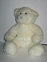 "BAB Build a Bear Plush White Teddy Blue Thread Nose 14"" Stuffed Animal Toy - $9.79"