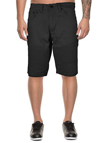 vkwear Men's Moto Biker Quilted Slim Fit Cotton Stretch Twill Shorts (36W, Black