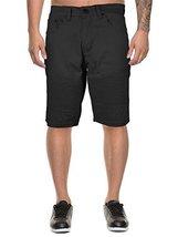 vkwear Men's Moto Biker Quilted Slim Fit Cotton Stretch Twill Shorts (36W, Black