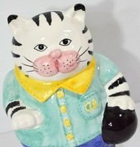 Cat Cookie Jar Al The Alley Kitty Bowling Fitz & Floyd Black/White Tabby 1993 - $25.97