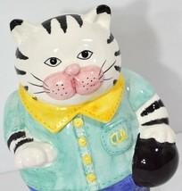Cat Cookie Jar Al The Alley Kitty Bowling Fitz & Floyd Black/White Tabby... - $25.97