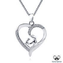 Mother Baby Hand In Hand Heart Pendant With Chain White Gold Plated 925 ... - £35.71 GBP