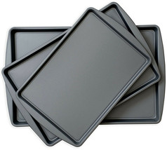 Nonstick Cookie Pans Baking Sheet Tray Steel Oven Set Non-Stick Bakeware... - $27.35