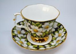Royal Albert Black Dogwood Teacup Saucer Provincial Flowers Bone China E... - $38.52