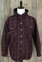 Dickies Jacket Large Burgundy/Black Plaid Hooded Warm Fleece Lined Snap ... - $29.69
