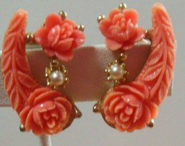 Vintage Gold-tone Peach Celluloid Carved Rose & Faux Pearl Clip-on Earrings - $44.55